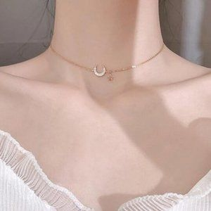 NEW Sterling Gold Moon Necklace